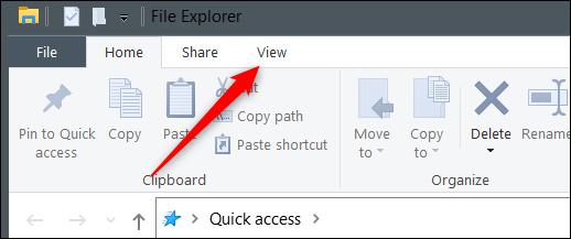 """Haga clic en """"Ver"""" en el Explorador de archivos."""