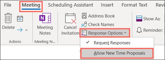 Desmarque Permitir nuevas propuestas de tiempo en Outlook