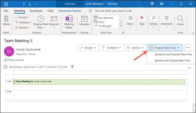 Haga clic en Proponer nueva hora en el correo electrónico de Outlook