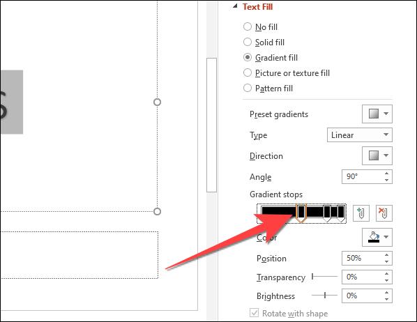 """En la opción """"Detenciones de degradado"""", seleccione el primer botón de parada similar a un lápiz en el control deslizante."""