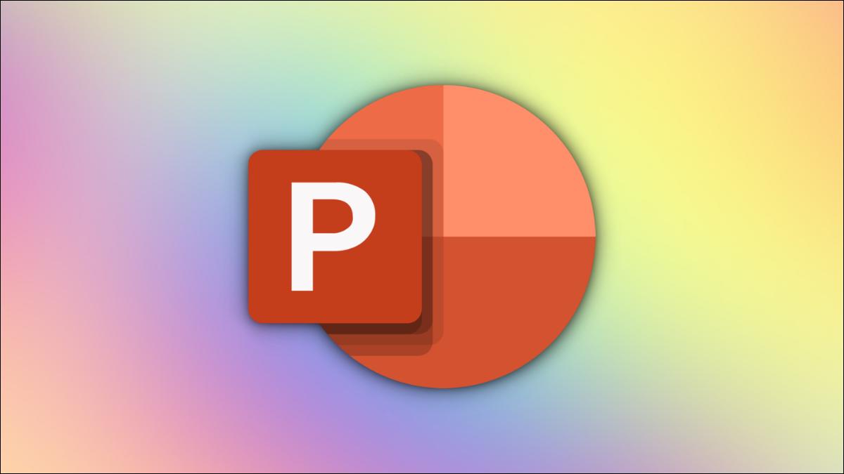Logotipo de PowerPoint sobre un fondo degradado multicolor