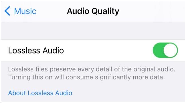 Alternar audio sin pérdida de Apple Music