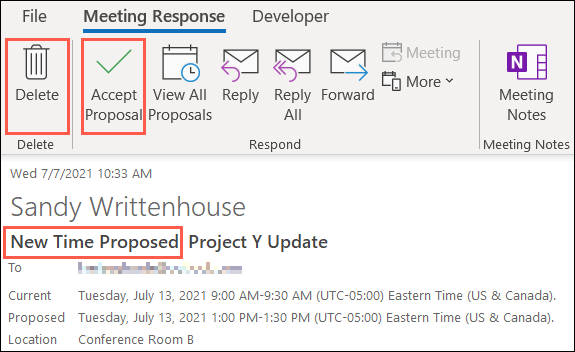 Haga clic para aceptar o eliminar una nueva propuesta de tiempo en Outlook