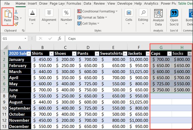 Pegar datos para agregar una columna o fila