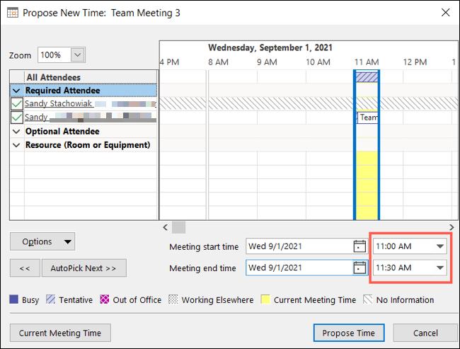 Seleccione una hora y haga clic en Proponer hora