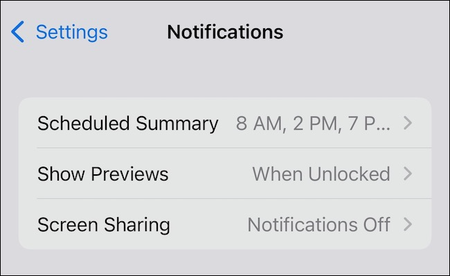 Opciones de resumen programado para notificaciones