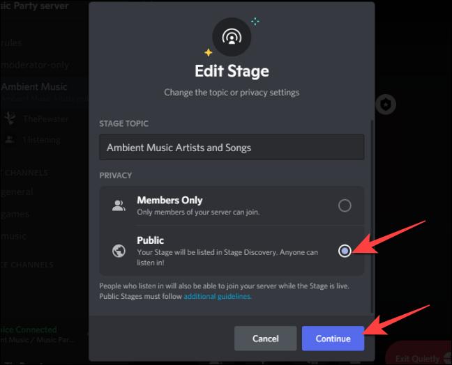 """Seleccione la configuración """"Público"""" en la sección Privacidad para cambiarlo a un evento de escenario público y seleccione """"Continuar""""."""