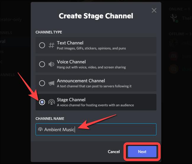 """Seleccione la opción """"Canal de escenario"""", escriba el nombre del canal en el cuadro de texto debajo de la sección """"Nombre del canal""""."""