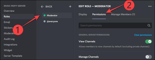 """seleccione la opción """"Moderador"""" o el nombre de función que haya asignado a los moderadores en su servidor de la Comunidad."""