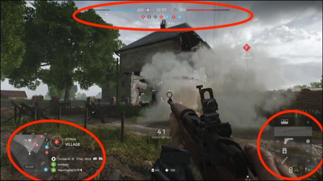 Battlefield V con elementos de IU estáticos destacados