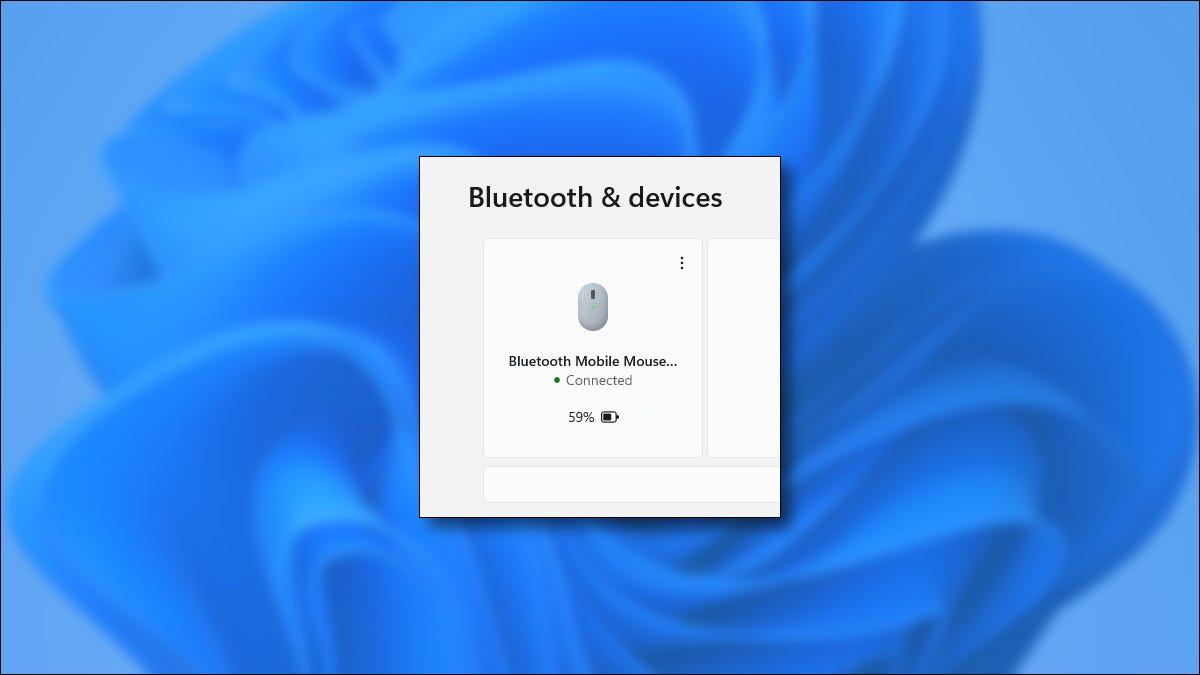 Un dispositivo Bluetooth que muestra el nivel de batería en Windows 11