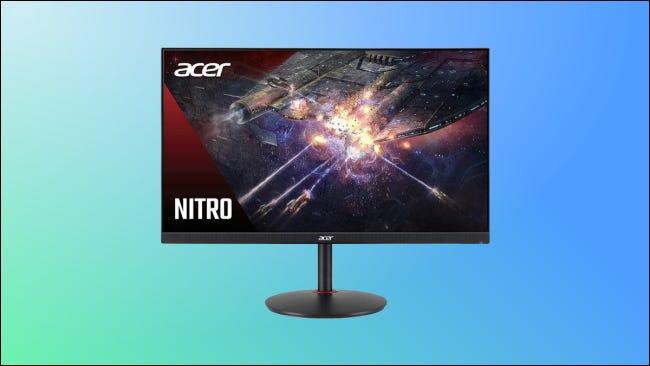 Monitor Acer Nitro sobre fondo azul y verde