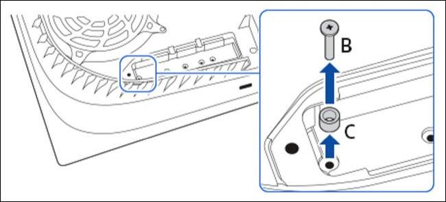 Ranura PS5 NVMe con espaciador