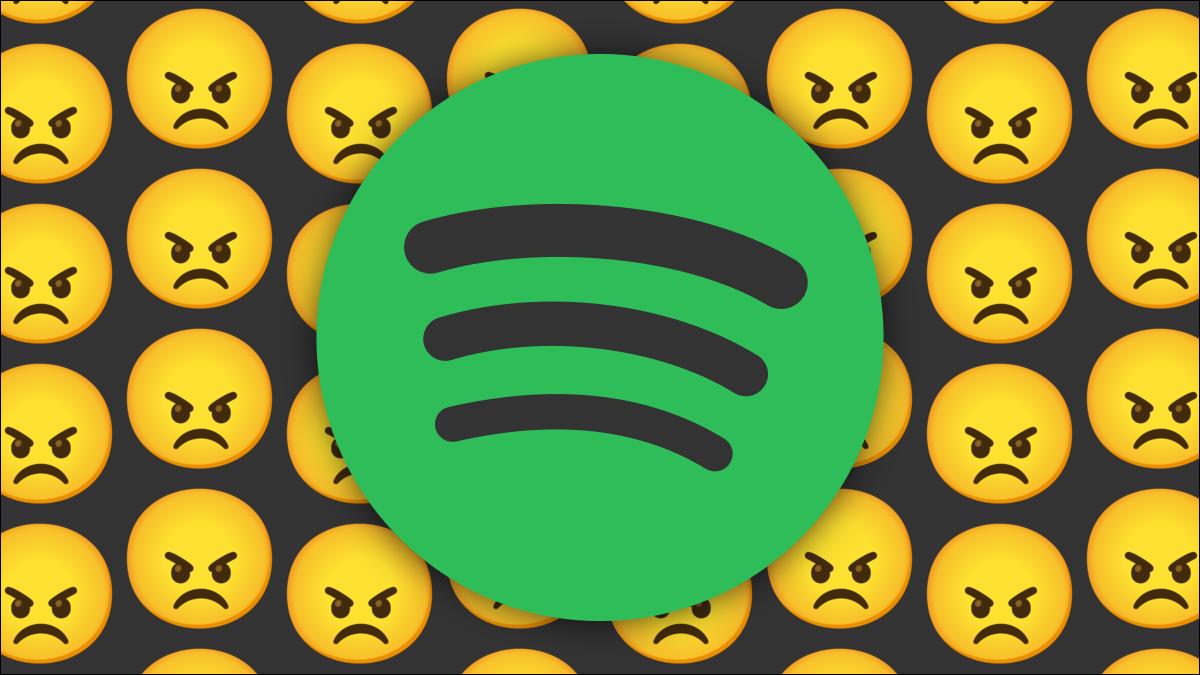 Logotipo de Spotify con caras enojadas.